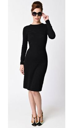 Retro Style Black Long Sleeve Sweater Knit Daydream Wiggle Dress