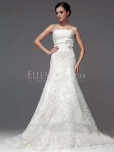 Trumpet/Mermaid Strapless Chapel Train Lace Luxury Wedding Dresses