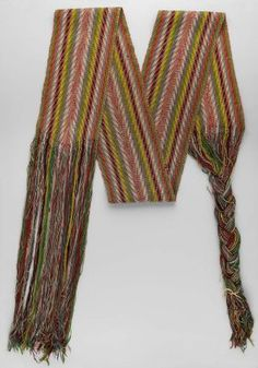 Wool finger woven sash with traditional arrow pattern in maroon, white, dark blue, light blue, green and yellow Canadian Culture, Canadian Art, Native American Clothing, Native American History, Aboriginal Clothing, Finger Weaving, Blue Green, Dark Blue, Light Blue