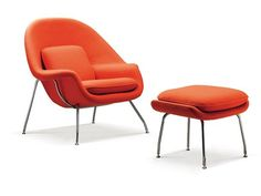 Womb Chair and Ottoman | Eero Saarinen Chairs  - orange