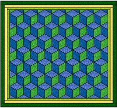 Free Quilt Pattern TBQ   A Tumbling Block Quilt That is Easy and Fun to Make