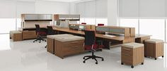 Modern Office Desks with Movable Storage. Direct Office Furniture serving Customers in Maryland, Washington DC, Northern Virginia and Nationwide. Office Space Planning, Office Plan, Open Office, Contemporary Office Desk, Modern Office Desk, Office Desks, Office Cubicle Design, Workspace Design, Modern Shelving