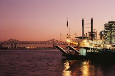 New Orleans Paddle-wheeler on the Mississippi next to the French Quarter