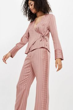 0561d415955 Slinky Striped Wrap Blouse and Slouch Trousers Set - Clothing- Topshop  Europe Housut