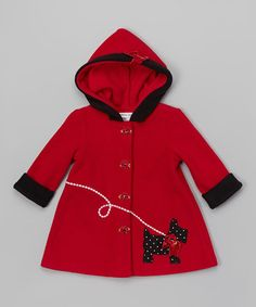 Loving this Red Dog Hooded Coat - Toddler & Girls on #zulily! #zulilyfinds