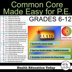 P.E. Curriculum: 20 Common Core Lessons for P.E. Made Easy and Super Easy!  Get the standards in your P.E. program without losing activity time!