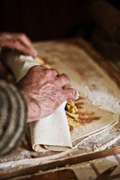 Rolling Strudel © Šárka Babická #rolling #strudel #dough #sweet #filling #hands #flour
