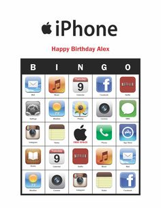 iPhone Birthday Party personalized Bingo Cards Game Delivered by Email Bingo Games, Card Games, Netflix Music, Party Themes, Party Ideas, Notes Free, Adoption Day, Neon Nights, I Party