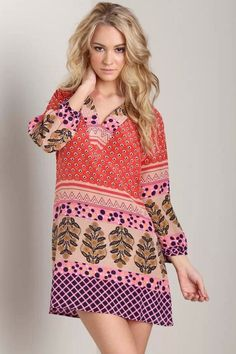 LUCLUC Red Printed V-Neck Long Sleeve Dress - LUCLUC