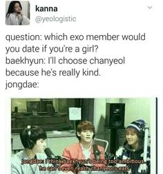 Baekhyun would date Chanyeol but he can't even reach his ears
