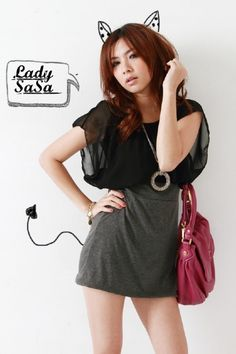 Korean Stylish Dress Grey+Black