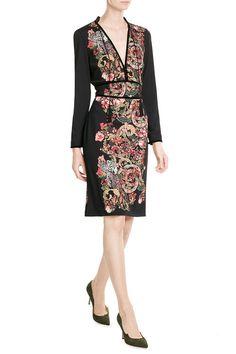 Print-Dress aus Jersey mit Samt