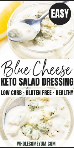 Homemade Keto Blue Cheese Dressing Recipe - Learn how to make blue cheese dressing with just 5 minutes 5 ingredients! This homemade keto blue cheese dressing recipe is just like a restaurant's and better than bottled versions. Salad Recipes Low Carb, Keto Recipes, Cooking Recipes, Lunch Recipes, Lchf, Banting, Real Food Recipes, Great Recipes, Dressings