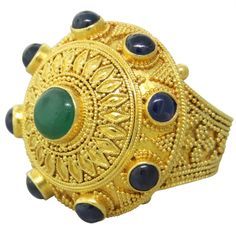 Ilias Lalaounis Greece 22k Gold Emerald Sapphire Cocktail Ring. 20th Century