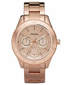 Fossil Watch, Women's Stella Rose Gold-Tone Stainless Steel Bracelet 37mm ES2859 - Women's Watches - Jewelry & Watches - Macy's