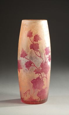 """LEGRAS FRENCH CAMEO GLASS VASE. Red maple leaves dominate the rose-red field. Height 11.50"""". Signed in cameo Legras at base. c. 1900."""