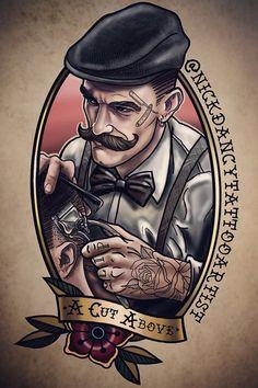 Barber Shop Interior, Barber Shop Decor, Tattoos 3d, Tatoos, Barber Pictures, Desenhos Old School, Tatoo Art, Barber Man, Barber Tattoo