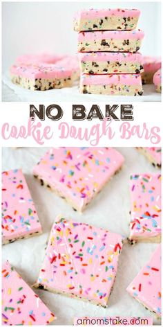 So delicious, these no bake cookie dough bars are easy to make and no baking req. So delicious, these no bake cookie dough bars are easy to make and no baking required! You& love this easy cookie bar dessert with sprinkles! Valentine Desserts, Köstliche Desserts, Easy To Make Desserts, No Bake Summer Desserts, Healthy Desserts, Awesome Desserts, Birthday Desserts, Holiday Desserts, Easy Foods To Make