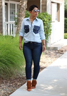 DIY Denim Button Up Shirt + Pattern Review B7136 - Mimi G Style