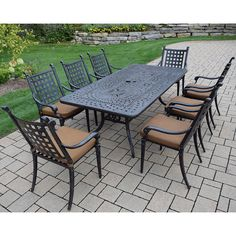 Sunbrella Aluminum 9 Pc Dining Set with Rectangular Table, 8 Stackable Chairs, with mildew resistant Sunbrella Cushions