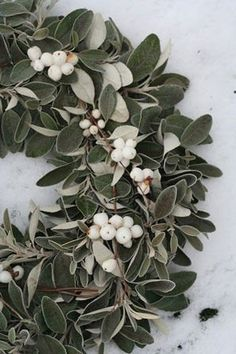 tallow berry and sage leaves wreath