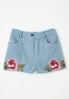 The Day We Meadow Shorts. The first time you frolic in these high-waisted shorts will be a memory youll hold near for years to come! #blue #modcloth