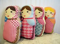 Matryoshka doll softie pillows - by Putunias and for sale at her etsy shop