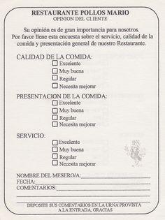 Pollos Mario restaurant client survey (from Orlando, FL)