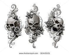 Skulls with floral patterns vector set. Vector illustration. by Sergey Kandakov, via Shutterstock