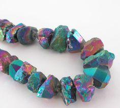 Mystic Blue Chunky Quartz Nugget Rainbow Crystal by BijiBijoux