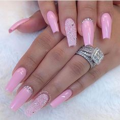 60 Bling Acrylic Coffin Nails Design With Rhinestones – – - Ballerina Nägel Baby Pink Nails Acrylic, Pink Glitter Nails, Summer Acrylic Nails, Best Acrylic Nails, Rhinestone Nails, Baby Nails, Nail With Rhinestones, Spring Nails, Pink Nail Designs