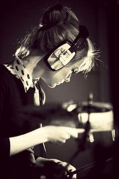 Girl with headphones on. #headphones #cans #music http://www.pinterest.com/TheHitman14/headphones-microphones-%2B/