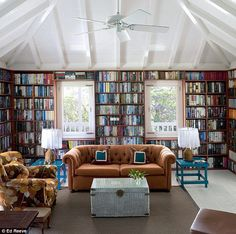 Naomi Cleaver's library - what tidy book shelves!