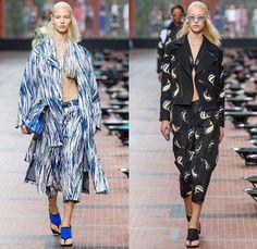 KENZO 2014 Spring Summer Womens Runway Collection - Paris Fashion Week - Mode à Paris - Beach Ocean Waves Brushtrokes Rain Fish Carp Print M...