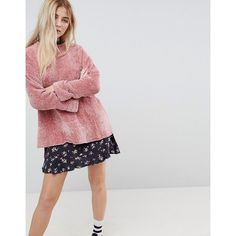 Pull&Bear Oversized Chenille Jumper (41 CAD) ❤ liked on Polyvore featuring tops, sweaters, pink, oversized sweaters, oversized tops, chenille sweater, drop shoulder sweater and pink crew neck sweater