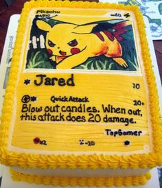 Pikachu card cake. I want to make this cake, but I would try making a different pokemon card.