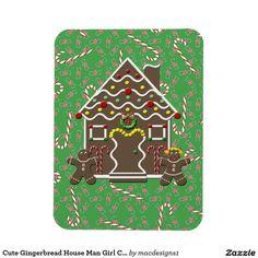 Cute Gingerbread House Man Girl Christmas Candy Rectangular Photo Magnet