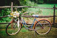 an old bicycle and flowers makes for a great old prop Barn Wedding Venue, Wedding Rentals, Wedding Events, Weddings, Barn Wedding Inspiration, Wedding Ideas, Rustic Chic, Rustic Barn, Wedding Paper Divas