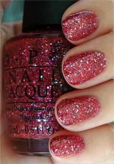 """Two coats OPI """"Excuse Moi! the pink glitter polish from the OPI The Muppets Collection! Fancy Nails, Love Nails, How To Do Nails, Pretty Nails, My Nails, Glam Nails, Pink Nails, Holiday Nails, Christmas Nails"""