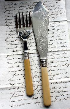 Antique Victorian Silver Engraved Fish Set