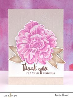 Thank you card featuring Build-A-Flower: Camellia stamp and die set. www.altenew.com