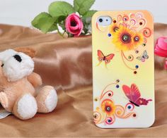 3D Crystal Rhinestone Hand-Painted Design Protective Plastic Case for iPhone 4/4S (Butterfly & Sunflower) ,Best personalized gifts for him or her on Yoyoon.com