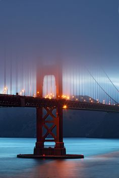 Blue hour fog at the Golden Gate Bridge, San Francisco, California Living In San Francisco, San Francisco City, San Francisco California, California Dreamin', Beautiful Places In The World, Most Beautiful Cities, Wonderful Places, The Places Youll Go, Places To Go