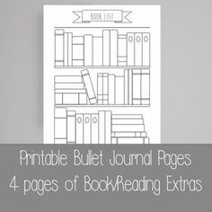 Extra Bullet Journal Pages - Book - Reading- - - US letter Bullet Journal Reading List, Bullet Journal Bookshelf, Planner Bullet Journal, Bullet Journal Page, Bullet Journal Printables, Bullet Journals, Journal Español, Journal Ideas, Grid Background