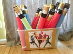 Cash party idea Power ranger swords - possibly a party favor? Superhero Birthday Party, 6th Birthday Parties, Third Birthday, Birthday Fun, Birthday Ideas, Kid Parties, Power Ranger Party, Power Ranger Birthday, Power Rangers