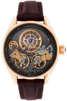 Rougois RS8390G Rose Gold Regal Double Escapement Automatic Skeleton Watch For Men