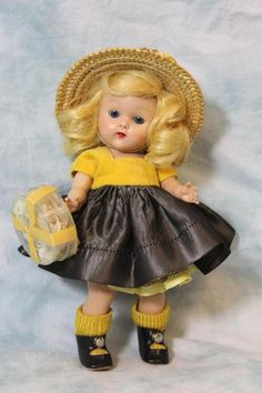 "8"" Vogue Painted Lash Ginny Doll 1951-1954  My First Corsage Series Vintage ++"