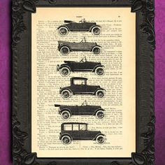 Car collection - CAR art - vintage dictionary print - dictionary art print, altered book art prints, antique book page CAR print