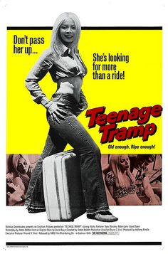High resolution official theatrical movie poster for Teenage Tramp Image dimensions: 989 x Directed by Anton Holden. Teenage Wasteland, Pulp Fiction Book, Adventure Movies, Vintage Movies, Funny Vintage, Mellow Yellow, Action Movies, Film Movie, Film