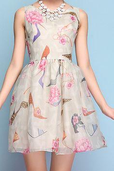 Floral High-Heeled Shoes Print Sleeveless Dress $26.00